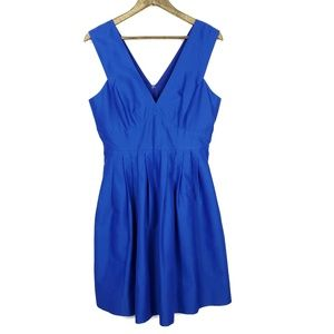 J.Crew V-Neck A-Line Faille Vibrant Blue Dress
